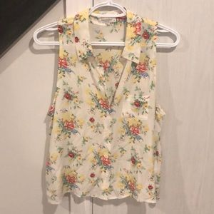 Equipment floral sleeveless blouse top